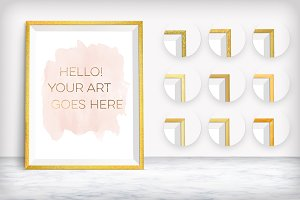 10 Golden Frames Mockups on Marble