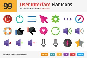 99 User Interface Flat Icons