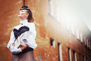 Beautiful redhair woman in vintage