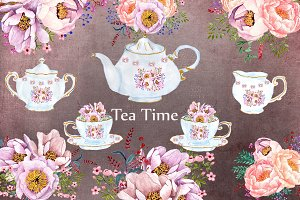Tea time watercolor floral clipart