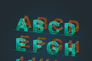 Six different styled vector font set