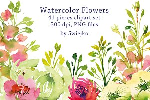 Watercolor Garden Flowers