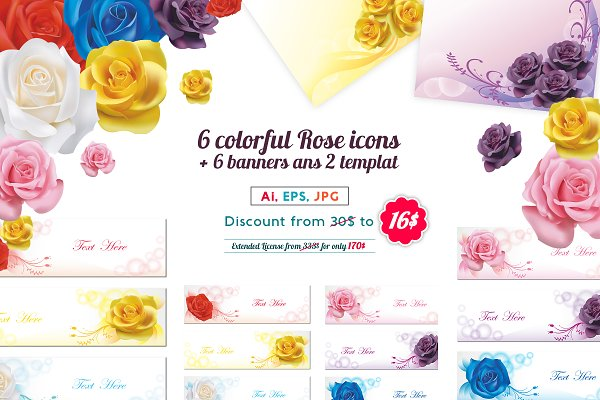 Colorful rose icon and template pac…