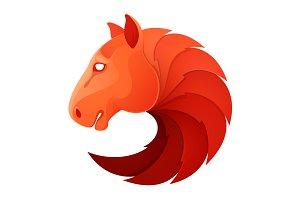 Horse head volume vector sport logo.