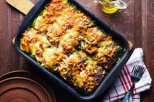 cabbage rolls baked with cheese