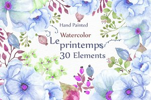 Watercolor wedding flowers clipart