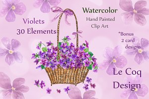 Watercolor violet flowers clipart