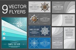 9 Nautical Vector Flyers (EPS+JPG)