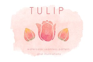 Watercolor Tulip Flower Pack