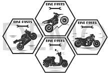motorcycle labels. bike parts. Vecto