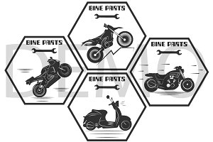 motorcycle labels. bike parts. Vecto
