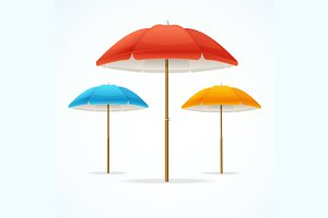 Beach Umbrella Set. Vector