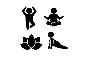 Yoga Meditation Poses Icons