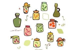 Doodle Jars Pickles Vector Set