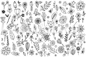Doodle Art Flower elements set
