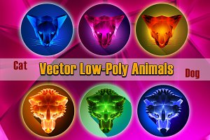 Vector LowPoly icons of Dog and Cat