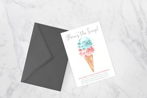 Modern Watercolor Ice Cream Invite