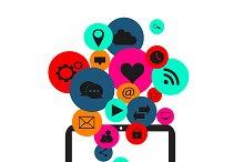 Flat social media icons laptop