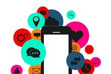 Flat social media icons smartphone