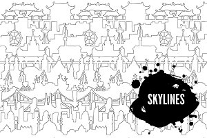 Skylines. Town. Doodle. 7 patterns.