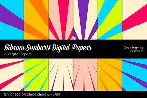 Vibrant Sunburst Digital Papers