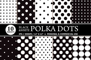 10 Black & White Polka Dot Papers