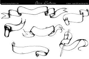 Hand Drawing Ribbon Set