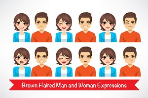 Avatar Face Woman Man Expressions