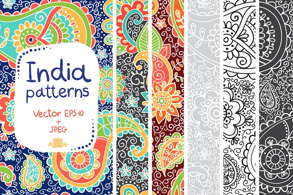 Indian Patterns In Vector And JPEG Graphic Patterns Creative Market New Indian Design Patterns