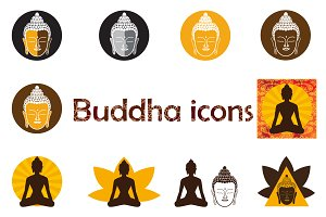 Set of Buddha icons.