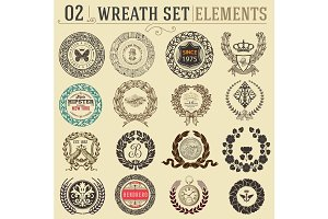 Laurel wreath set. Design elements