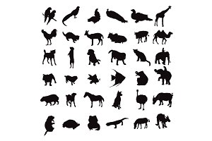 silhouette set of animals