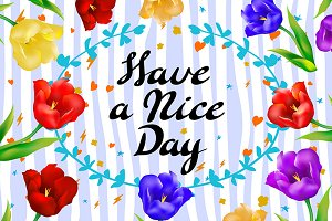 Have a nice day wishing card flower