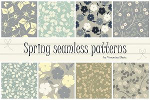 8 Vector spring seamless patterns