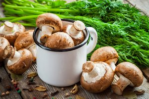 Mushrooms champignons in mug