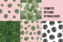 5 Seamless patterns of palm leaves