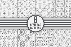 Set of 8 vector seamless patterns