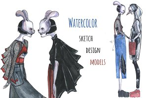 Watercolor sketch design models