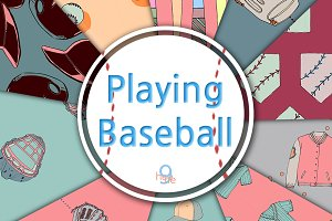 Playing Baseball Pattern&Paper