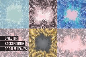 6 vector backgrounds of palm leaves