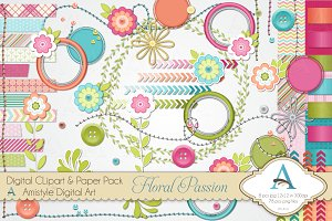 Floral Passion Digital Clipart Set