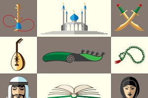Arabic, middle east flat icons