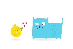 Bird in love with a Cat