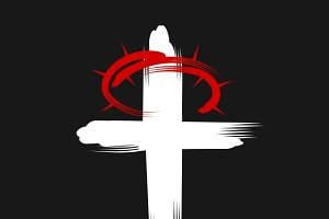 Cross and crown of thorns  icon