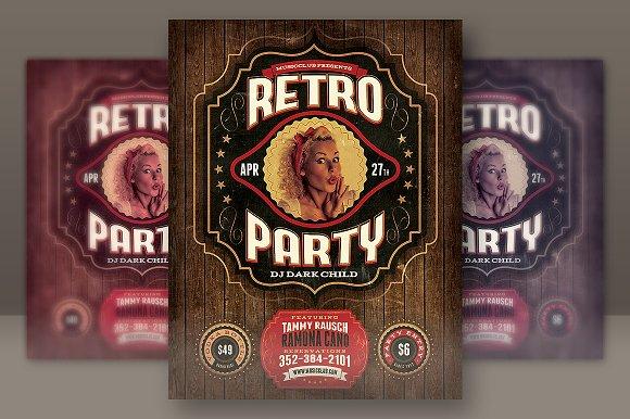 Retro Party Flyer Template Flyer Templates on Creative Market – Retro Flyer Template