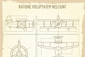 Aircraft retro blueprint drawing