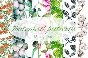 Awesome set of botanical patterns