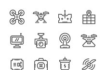 Set line icons of quadrocopter