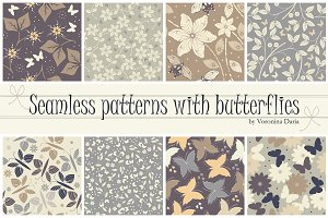 8 Samless patterns with butterflies