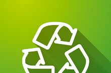 Recycling white icon on green